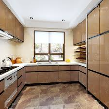 How To Cover Kitchen Cabinets With Vinyl Paper Yazi Gloss Champagne Flower Wallpaper Kitchen Cupboard Fridge Door