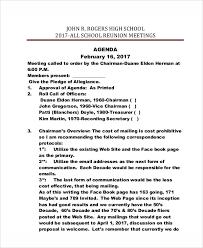 high school agenda 8 reunion agenda templates free sle exle format