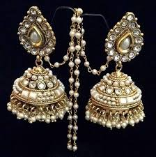 new jhumka earrings buy bridal pearl kundan big teardrop jhumka india
