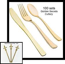 gold plastic silverware gold plastic cutlery 300 combo pack golden