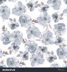 Chic Flower Watercolor Anemones Pattern Shabby Chic Floral Stock Illustration