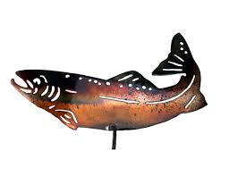 smw343 metal garden yard wall art trout fish sunriver metal works