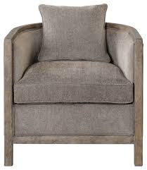 Armchairs Accent Chairs Weathered Wood Gray Chenille Tub Arm Chair Accent Barrel Round
