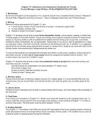 english 111 literature and composition guidelines for faculty