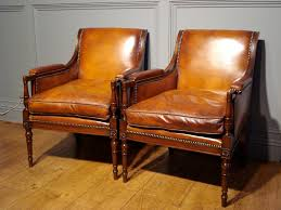Cheap Leather Armchairs Uk Sold Pair Of Studded Leather Library Reading Armchairs Antique