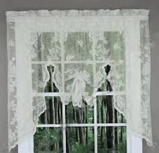 Lace Curtains Amazon Amazon Com Abbey Rose Floral Lace Curtain Ivory Swag Valance