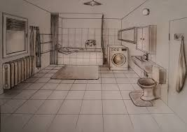 how to draw one point perspective bathroom youtube