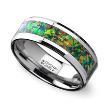 wedding rings opal images Blue orange opal inlay men 39 s wedding ring in tungsten jpg