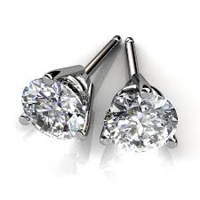 stud diamond earrings 14kt white gold three prong diamond stud earrings union diamond