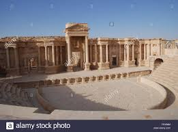 syrian desert the ruins of the ancient city of palmyra in the syrian desert