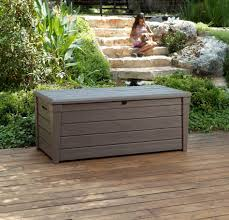Keter Bench Storage Storage Keter Eden Gal Bench Deck Box In Brown The Home Depot