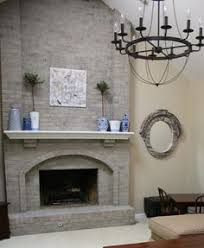 White Washed Stone Fireplace Life by Gray Painted Brick Fireplace White Shelves Google Search