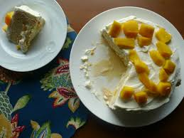 tres leches cake with mango gluten free sweets at vicky u0027s