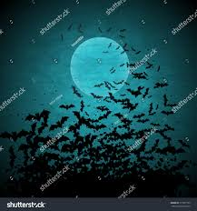 halloween vector background moon bats stock vector 113977105