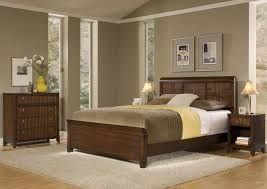 rectangular solid oak wood king headboard neutral bedroom paint