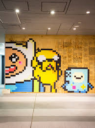 so cool adventure time post it note mural 2014 by kerrie neilen adventure time jake the dog pixel art bmo mural finn and jake post it paper craft canberra 8 bit art post it note art art not apart