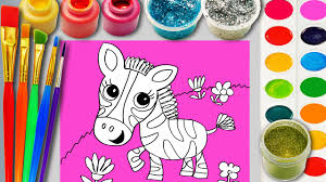 zebra coloring page for children to learn colors paint and hand