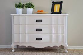 White Wood Furniture Bedroom Long Chest Furniture Made Of Walnut Wood With Six Drawers