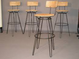 minimalist wrought iron bar stools with wicker seat of stylish