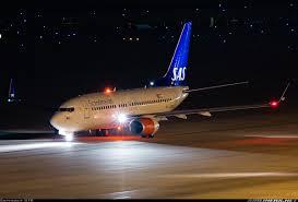 Night Flight Sas Boeing 737 7ak Bbj Aircraft Picture Night