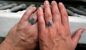 ceker couple ring finger tattoos