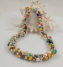 colour pearl necklace images Multi colour pearl cluster necklace with a twist river pearls jpg