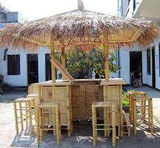 Gazebo With Bar Table with Thatched Roofing For Gazebos And Sheds Gorgeous Backyard Designs