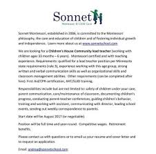 Working With Children Resume Montessori Assistant Cover Letter