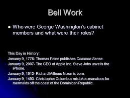 who was in washington s cabinet bell work explain what a president s cabinet is explain what a
