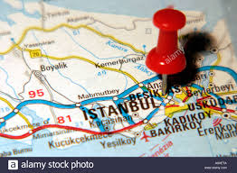 istanbul turkey map map pin pointing to istanbul turkey on a road map stock photo