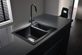 white sink black countertop modern kitchen with white cabinets and black sink cleaning ways