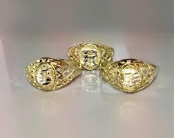gold monogram ring gold monogram ring etsy