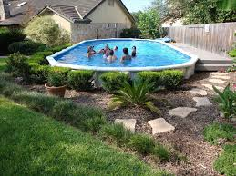 Pool Landscaping Ideas by Deck Round Above Ground Pool Landscaping Ideas Around Oval Above