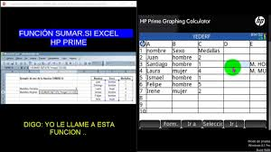 Windows Spreadsheet Hp Prime Funcion Suma Si Excel Spreadsheet Youtube