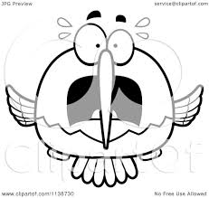 cartoon clipart of a black and white frightened hummingbird