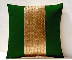 beaute handmade throw pillows green gold color