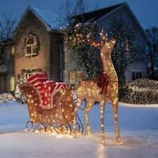 Prelit LED Reindeer and Santa Sleigh with Gifts Set Outdoor