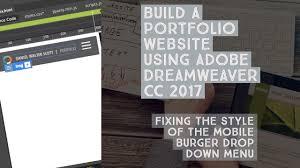 fixing the style of the mobile burger drop down menu dreamweaver