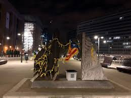 Estelada Flag Yellow Ribbons And October 1 Ballot Box Placed Outside European