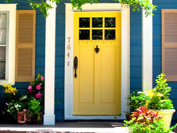 Exterior Door Color Bright Blue House Wall Painting Paired With Yellow Front Door