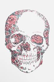 floral skull wall decal tattoos floral skull wall