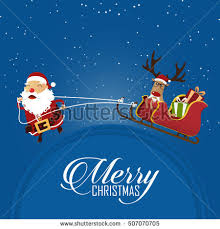 merry christmas scene santa claus pulling stock vector 532623412