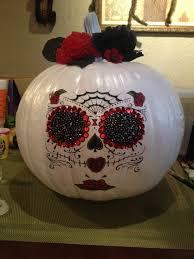 Sugar Skull Pumpkin Carving Patterns by Sugar Skull Pumpkin Decor Spray Painted Pumpkin Used Temporary
