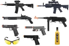 airsoft seven spring gun package w m4 mp40 5 000 bbs more