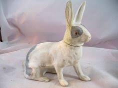 paper mache bunny vintage paper mache rabbit holding baby bunnies candy container