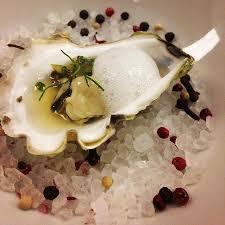 mignonette cuisine pickled dennis oyster with elderflower gel pink peppercorn fennel