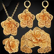 big gold necklace set images Exquisite big flower platinum 18k gold plated jewelry set red jpeg