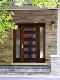 Front Door Design Photos Plain Modern Glass Front Door With Insert And Decorative Stonework