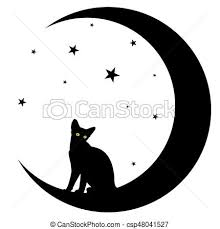 a black cat with moon vector illustration search clipart