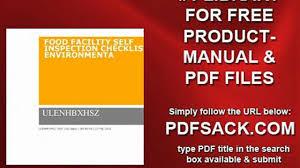 food facility self inspection checklist environmenta video